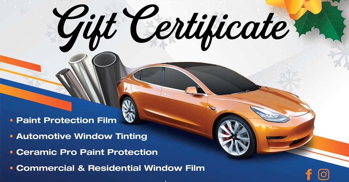 Window Tint Gift Certificate